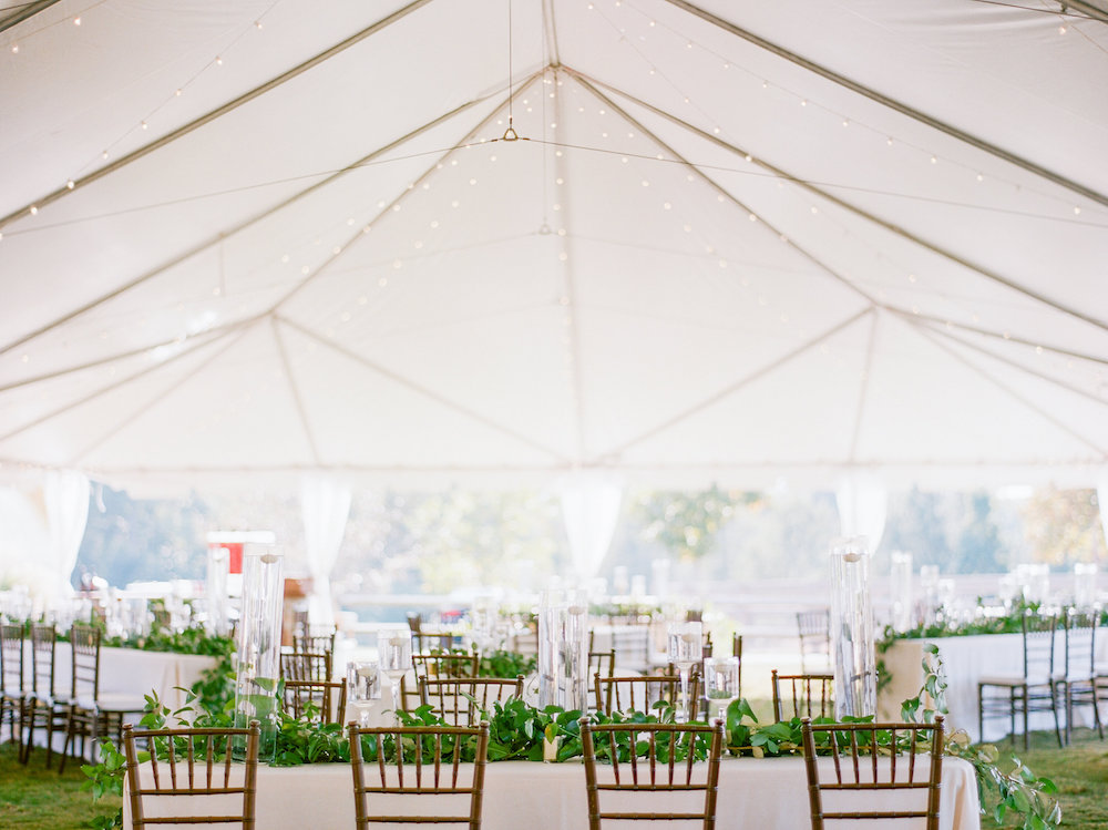 Tented Outdoor Wedding Reception with String Lights