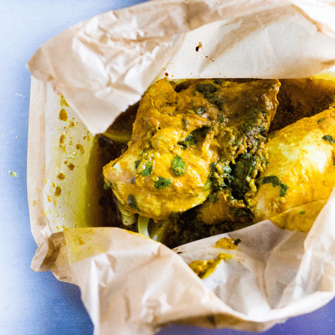 Turmeric and Honey Parchment Baked Chicken