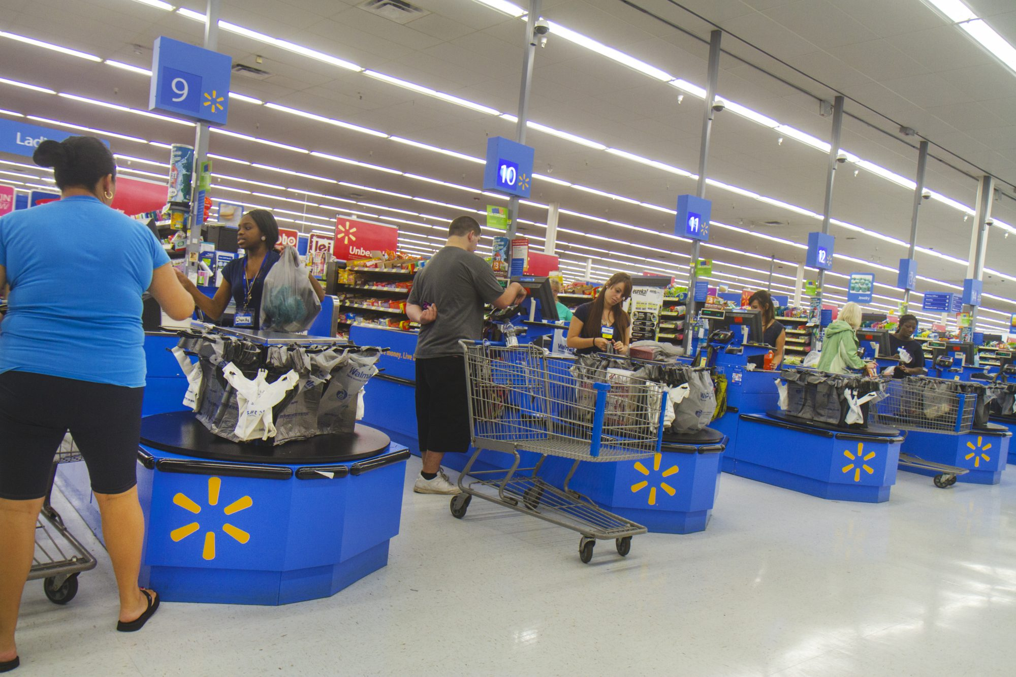 The check out inside Walmart.