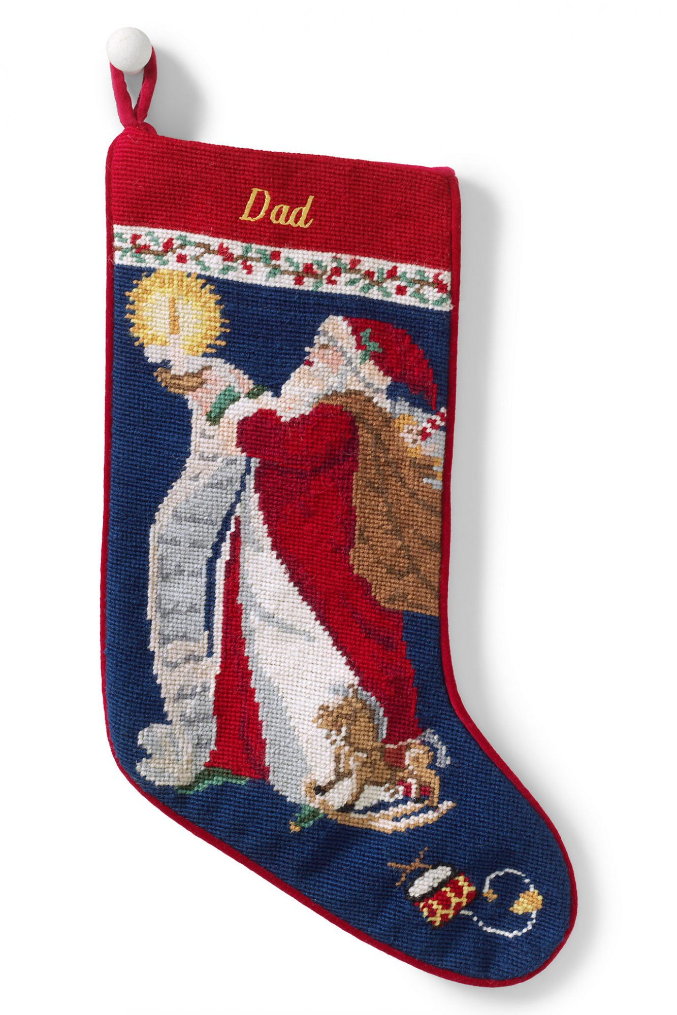 Traditional Santa Needlepoint Christmas Stocking