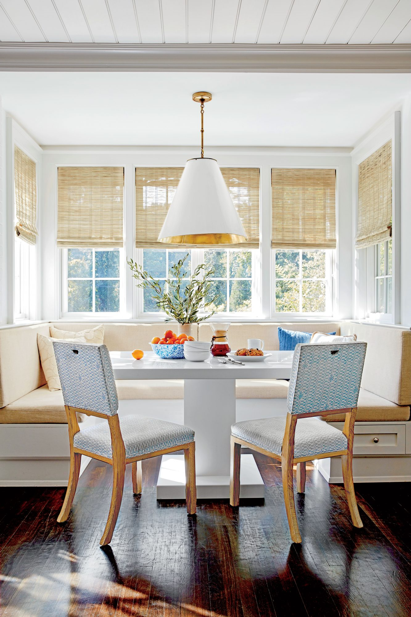Chapel Hill House Neutral Breakfast Nook with Banquette Table