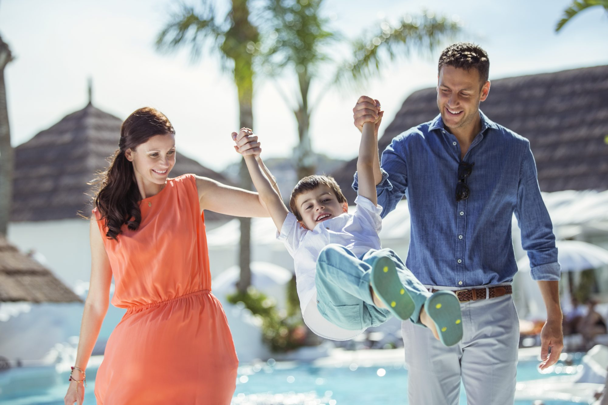 Couple with Kid at Pool