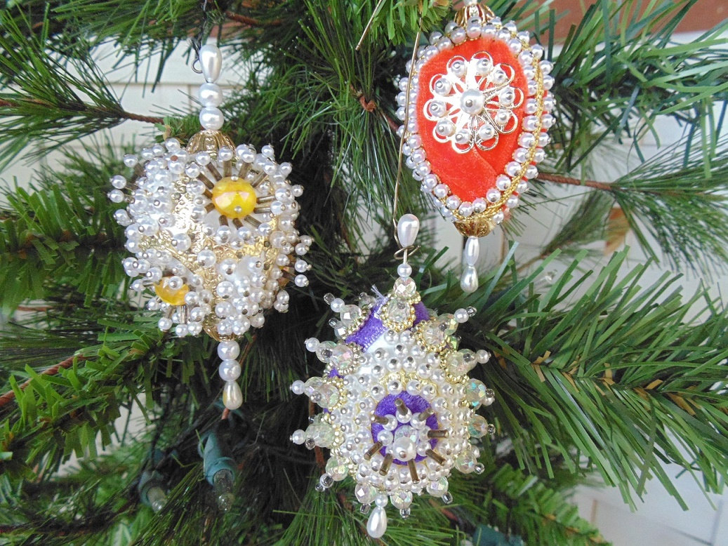 Victorian Beaded Egg Christmas Ornament