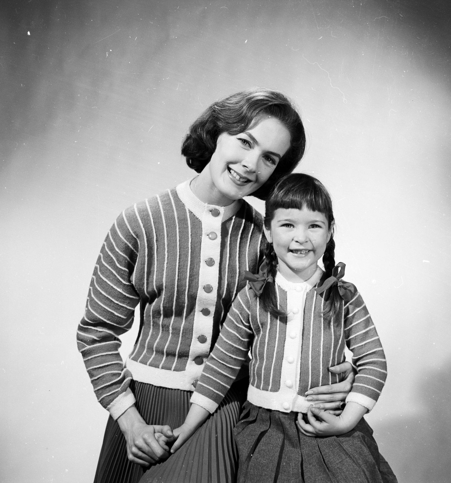 Mother Daughter in Matching Cardigans