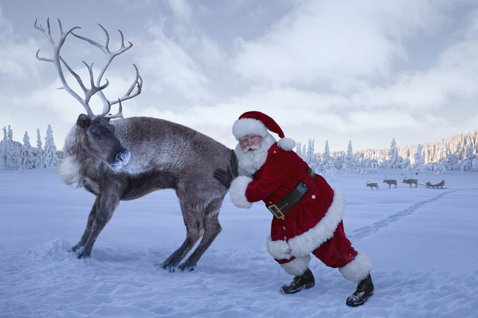Santa Pushing Reindeer