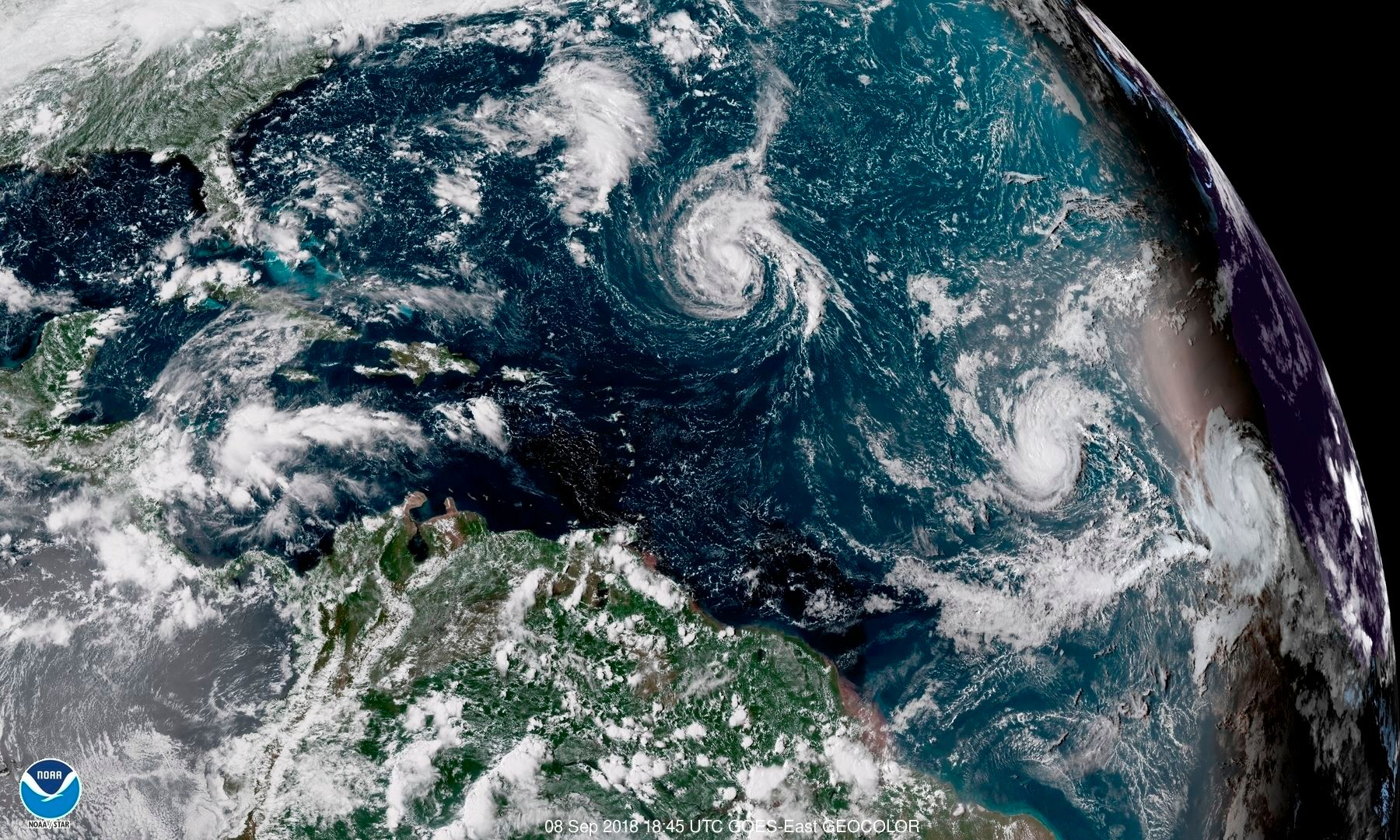 The satellite view of tropical storm/hurricane Florence
