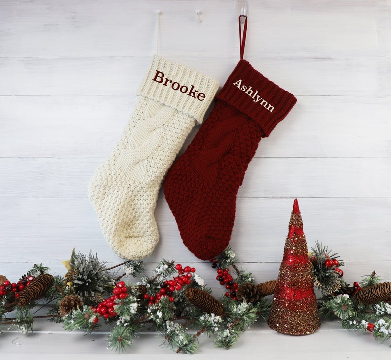 Monogrammed Cable Knit Stockings