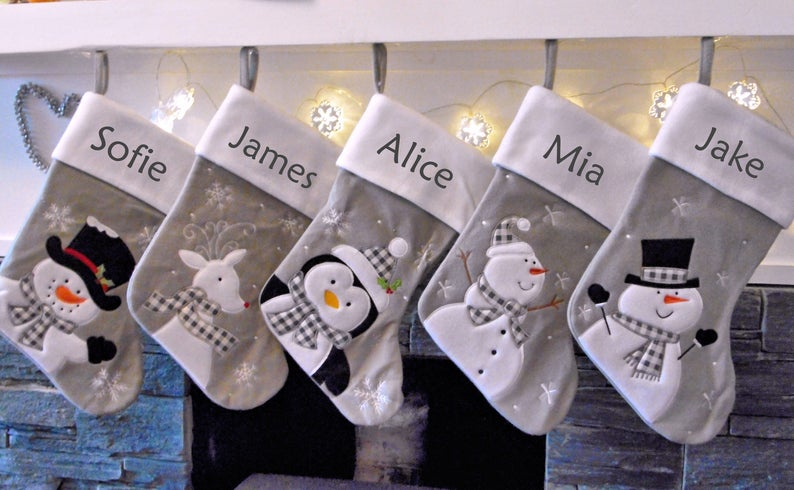 White Personalized Christmas Stockings