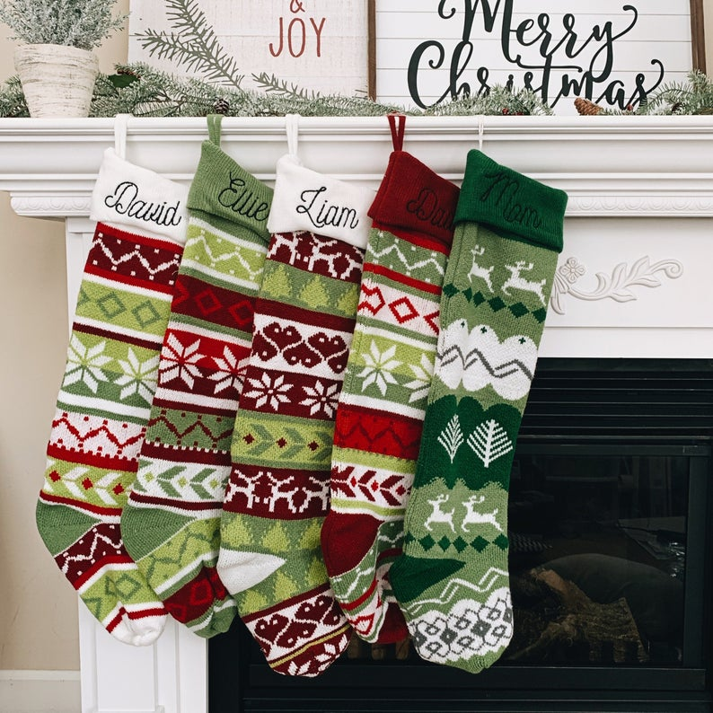 Oversized Knit Christmas Stockings