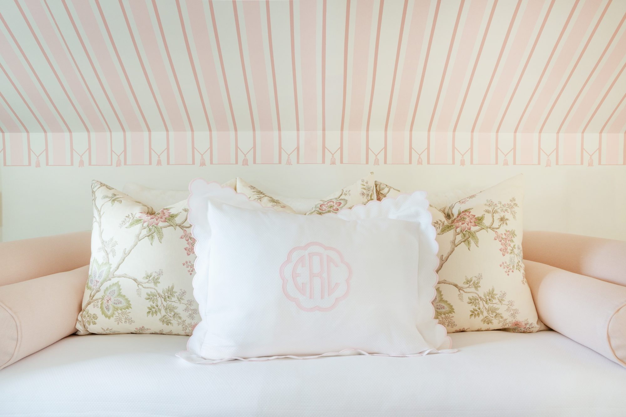 Pink Striped Nursery Daybed