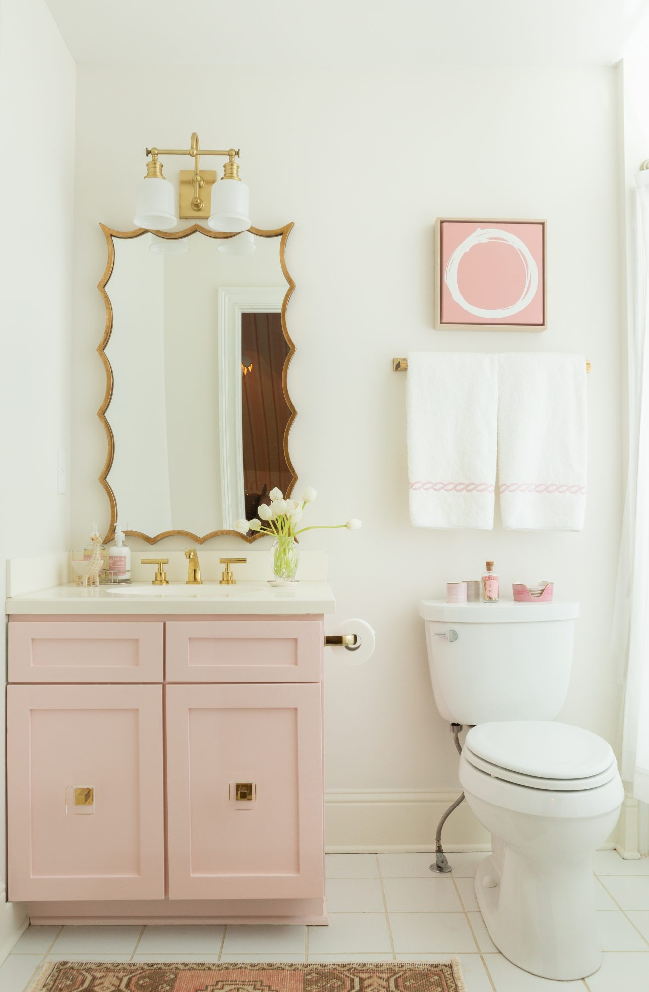 Pink Striped Nursery Adjacent Powder Bathroom
