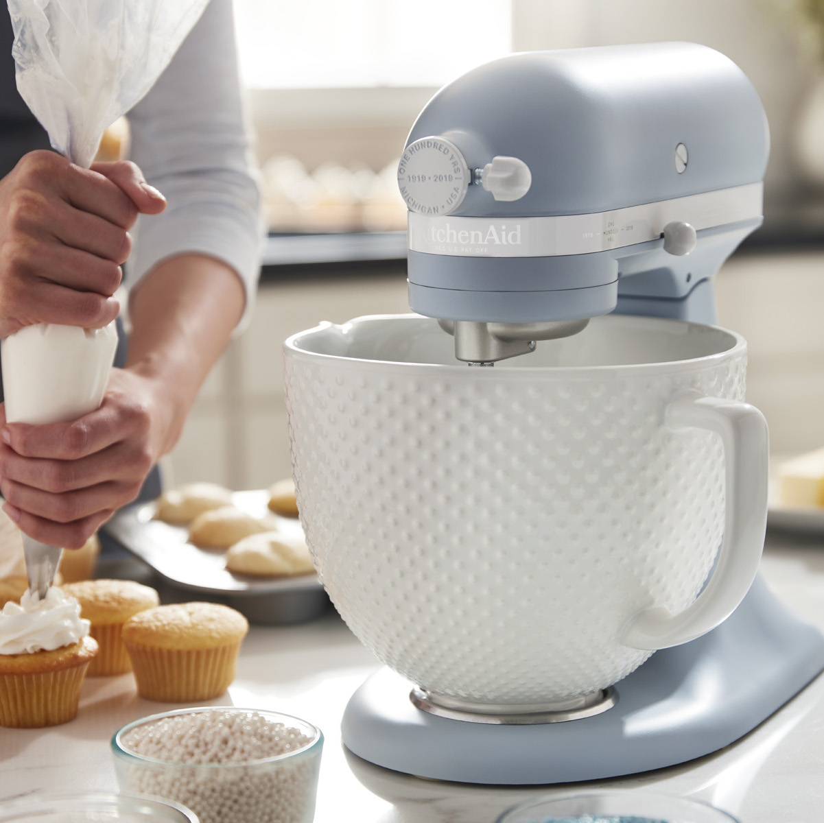 KitchenAid Just Released a Retro-Inspired Mixer Color to Celebrate the Brand's 100th Anniversary kitchenaid-misty-blue-XL-BLOG0818