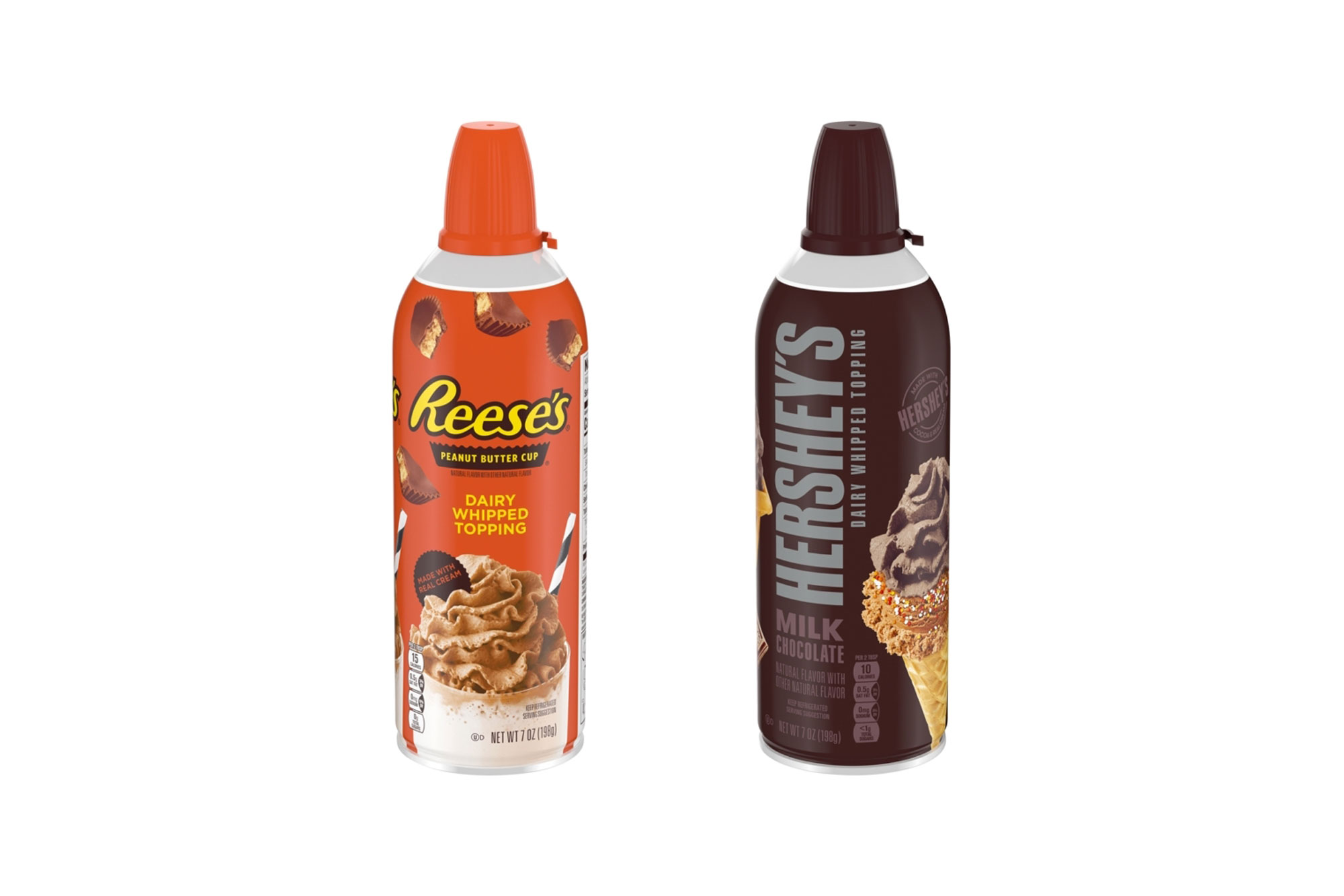 Hershey's Milk Chocolate and Reese's Peanut Butter Cup Whipped Cream Cans Are Now Available