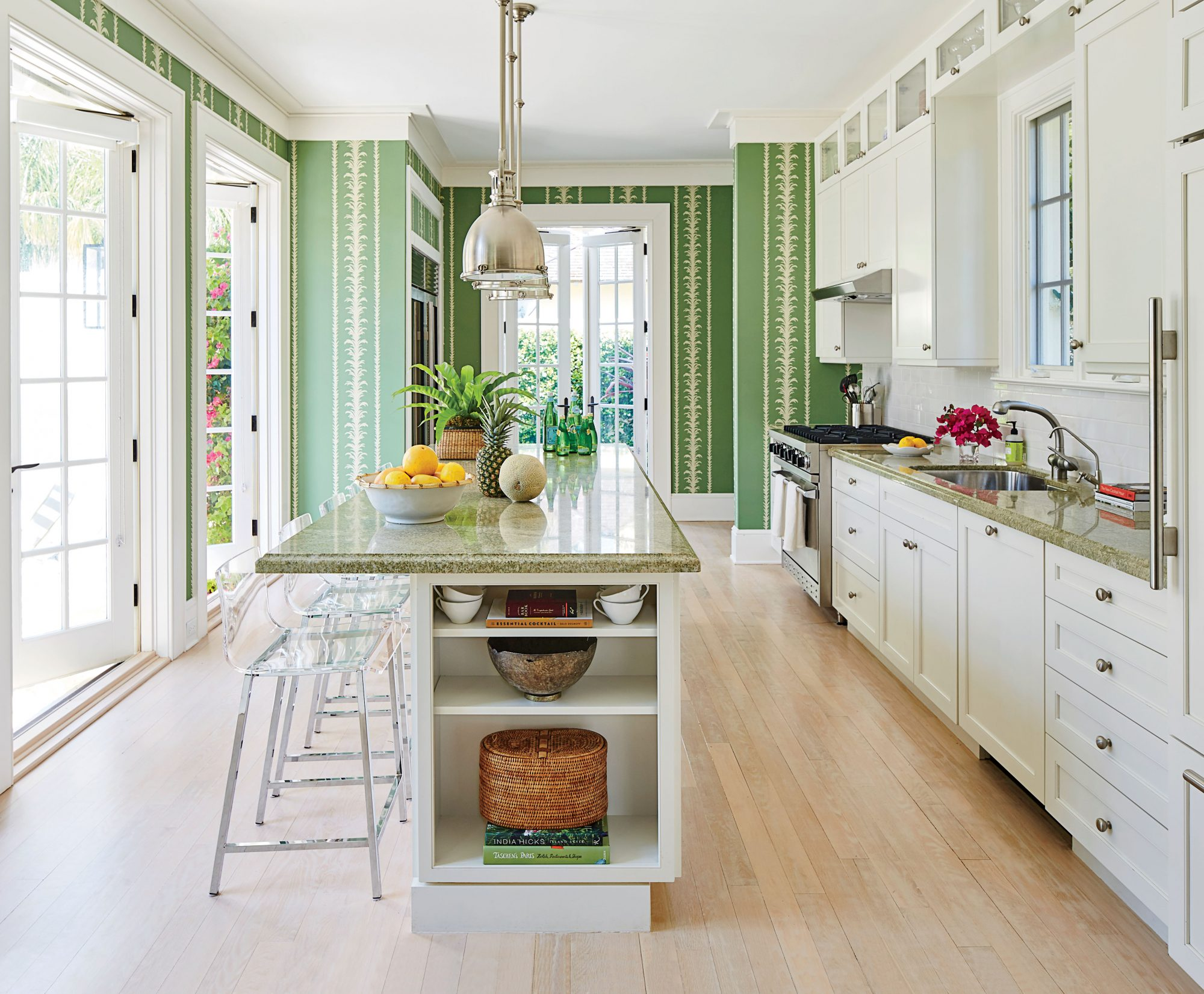 Lindsey Coral Harper Windsor, FL Makeover Green Kitchen White Cabinets