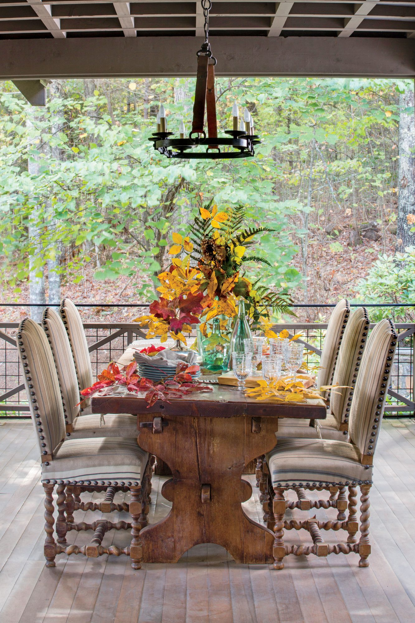 Sara Hedstrom Pinnell Walland, TN Cabin Outdoor Dining Room on Porch