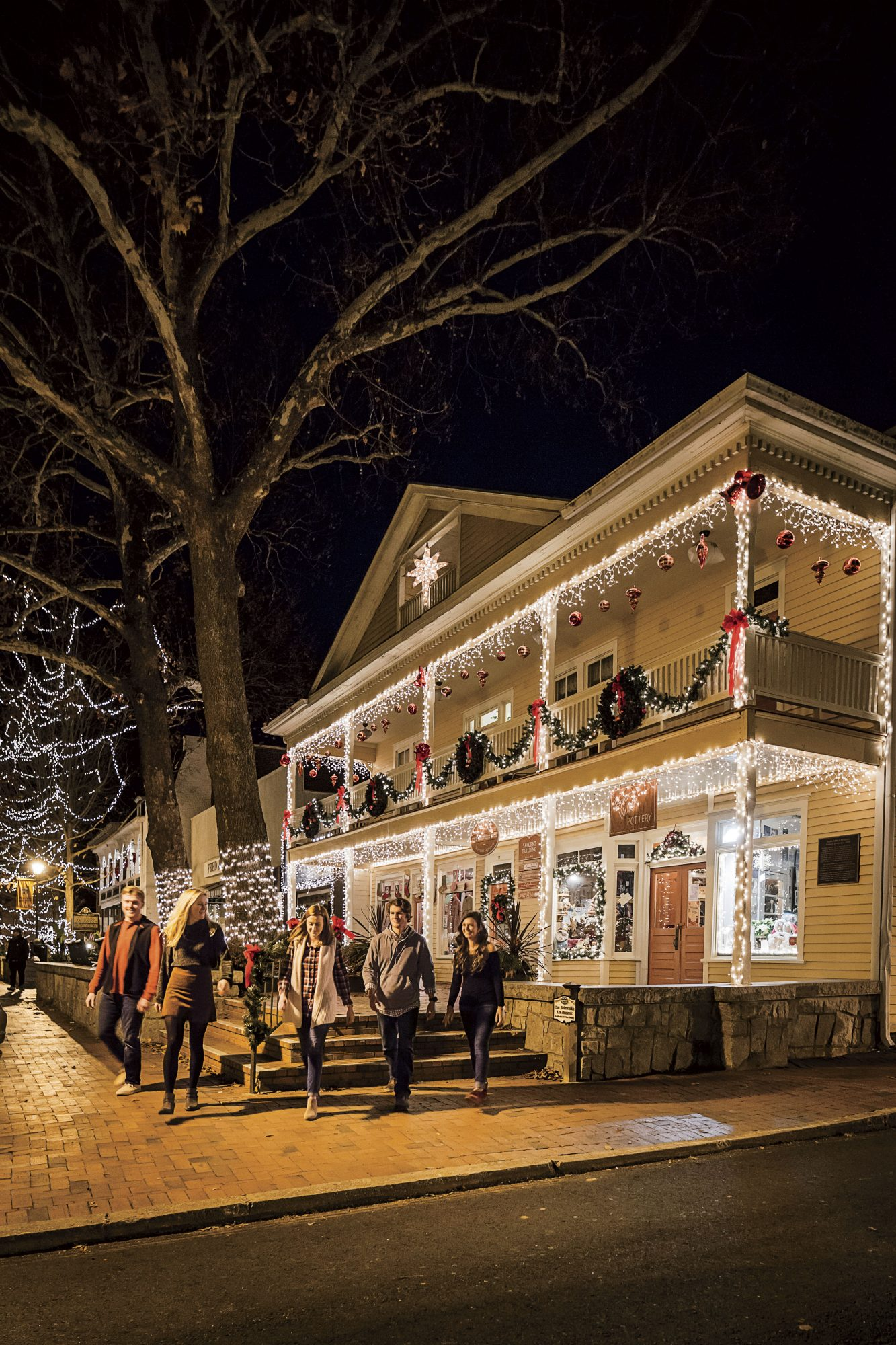 Downtown Streets Decorated for Christmas in Dahlonega, GA