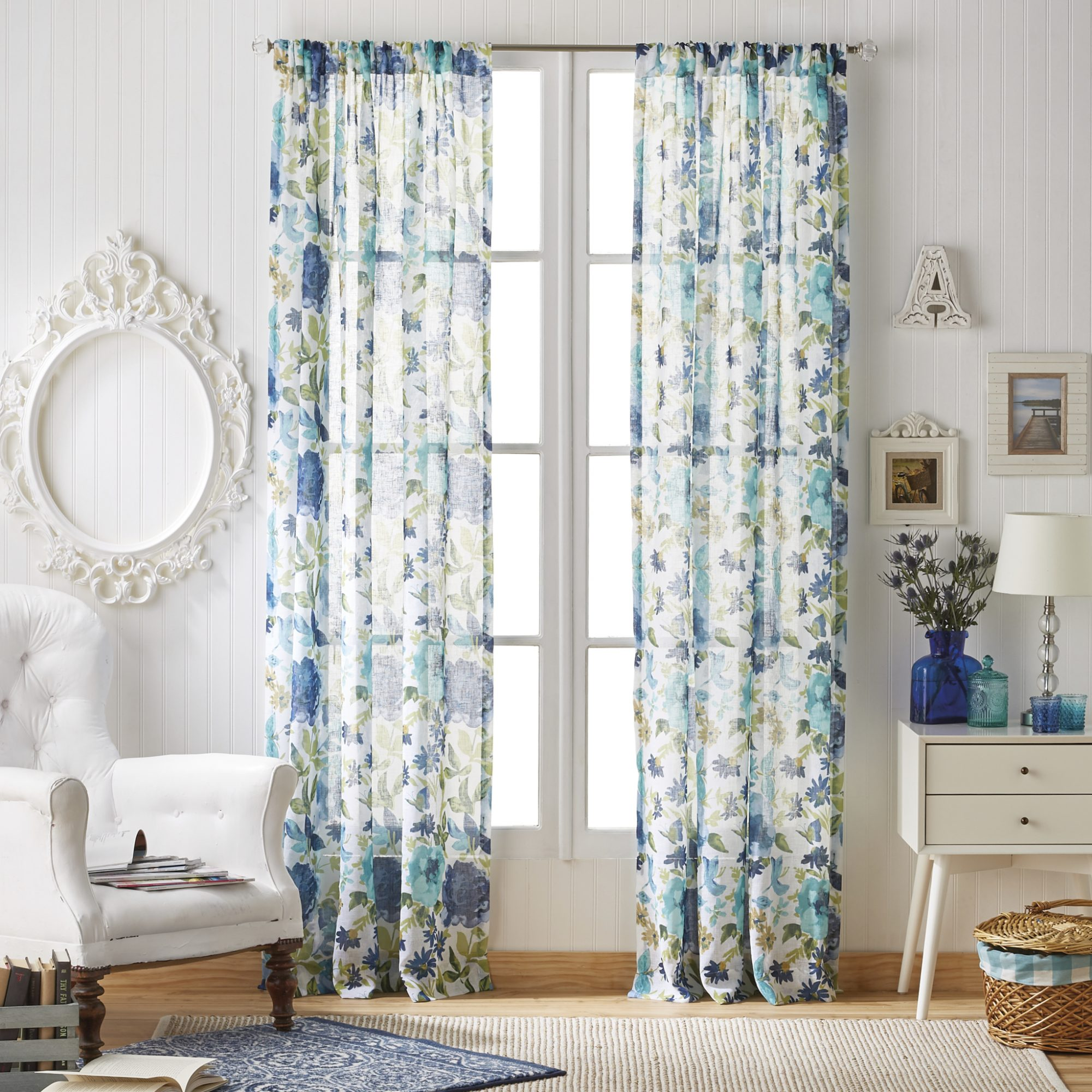 Fiona Floral Pole Top Curtain Panel