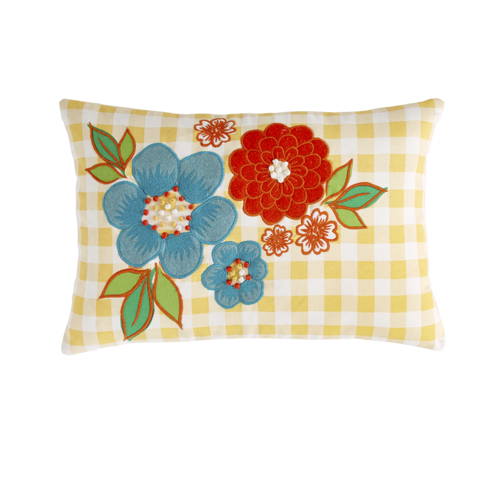 Gingham Floral Decorative Pillow