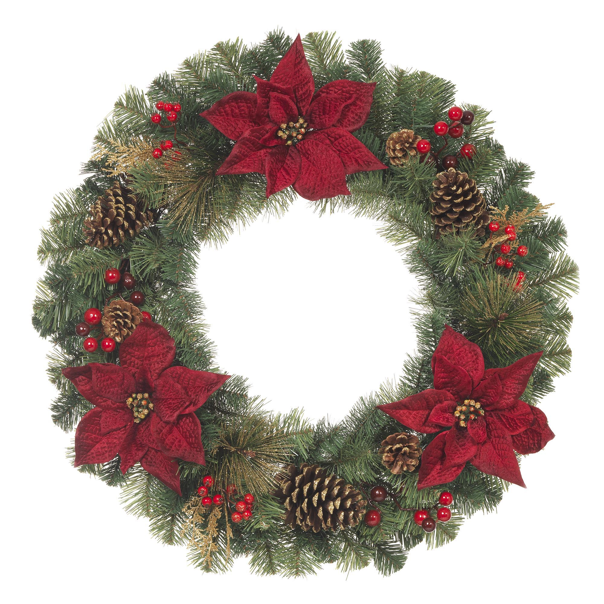 Unlit Artificial Christmas Mixed Pine Wreath with Red Poinsettias