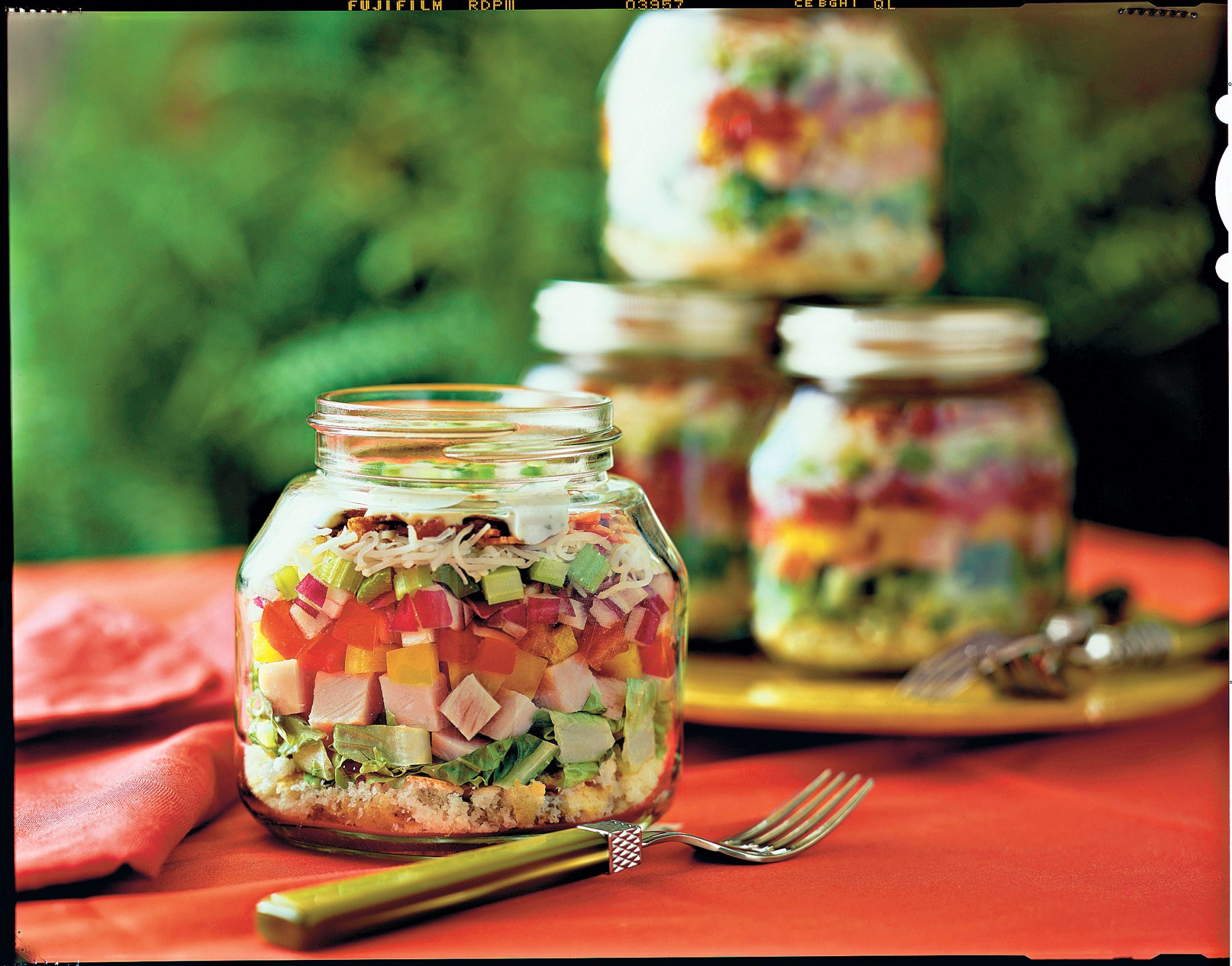 Layered Cornbread and Turkey Salad