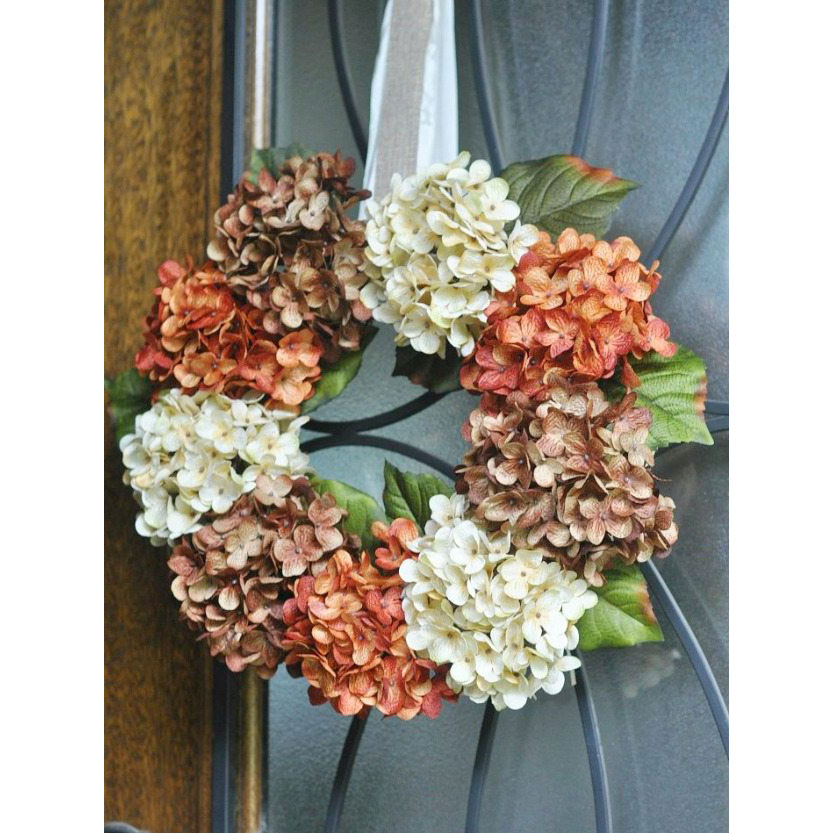 Faux Hydrangea Wreath in Fall Colors