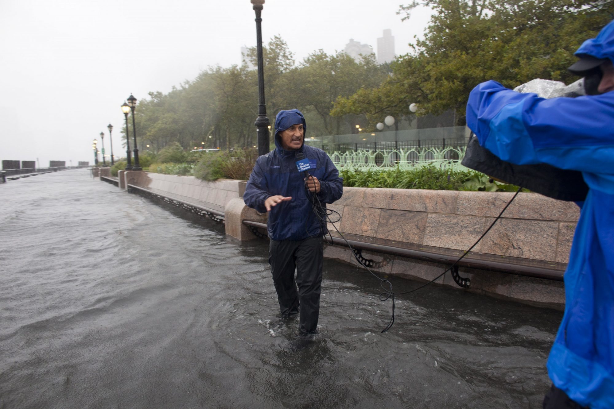 Jim Cantore Reporting in a Flood
