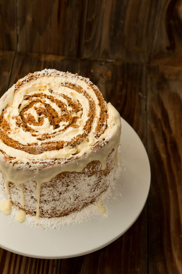 White Chocolate Pumpkin Roll Cake