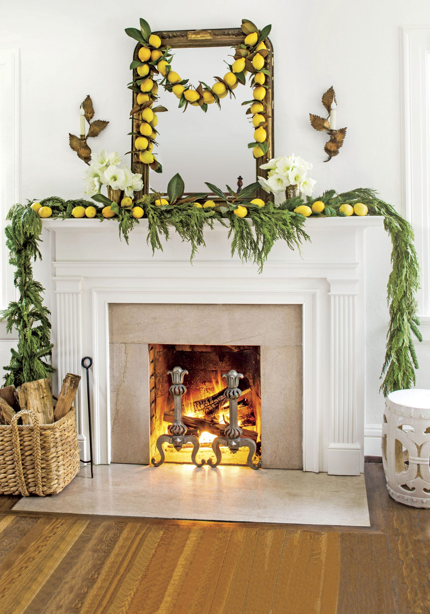 Fresh Lemon Garland Hanging Over Fireplace Mantel