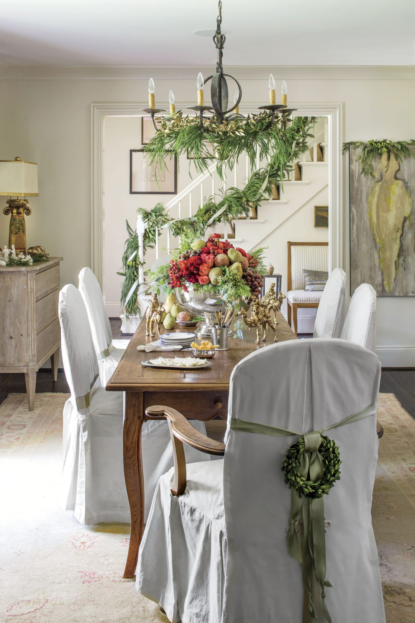 Greenery Display in Iris Thorpe's Dining Room