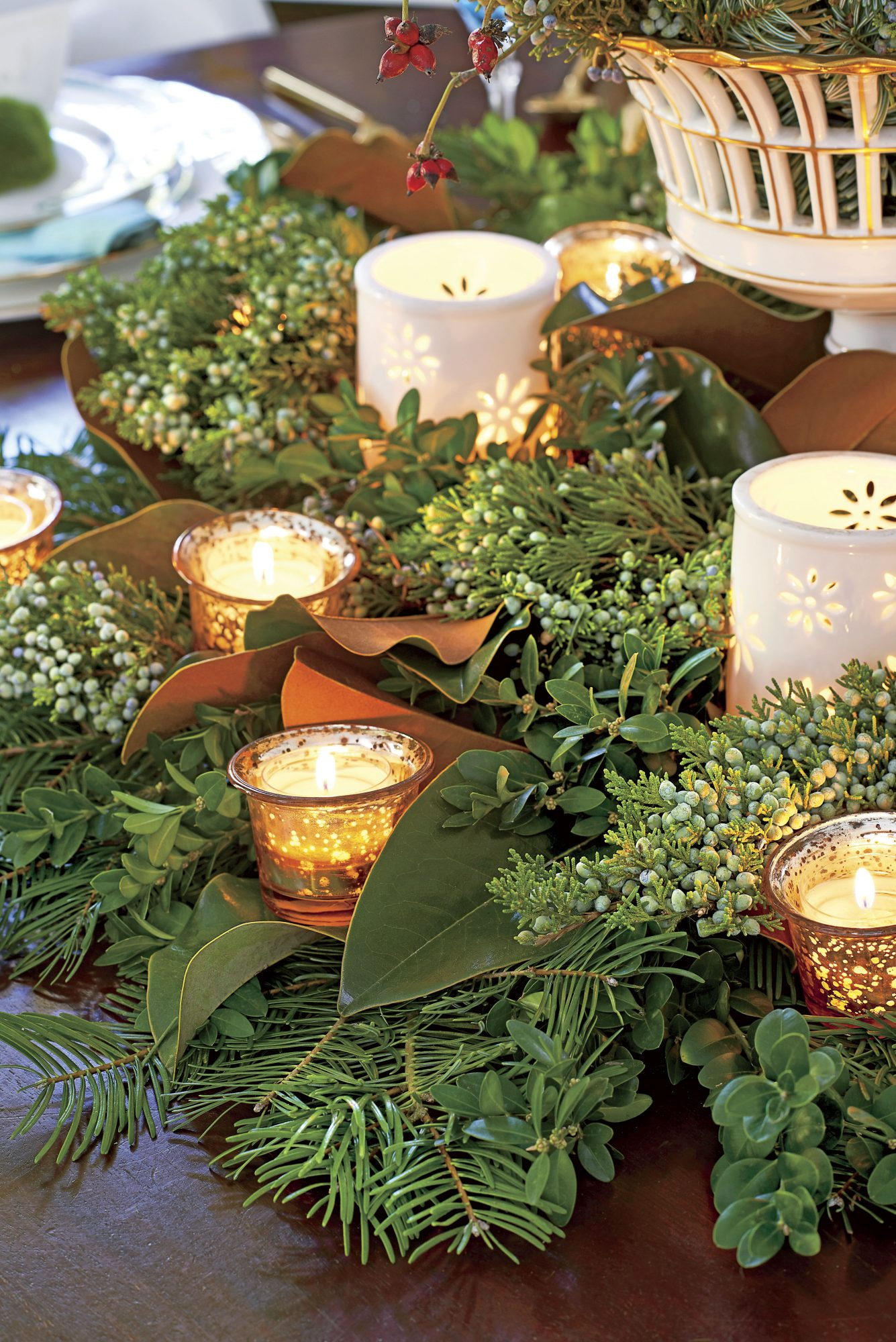 Christmas Greenery Centerpiece with Votive Candles