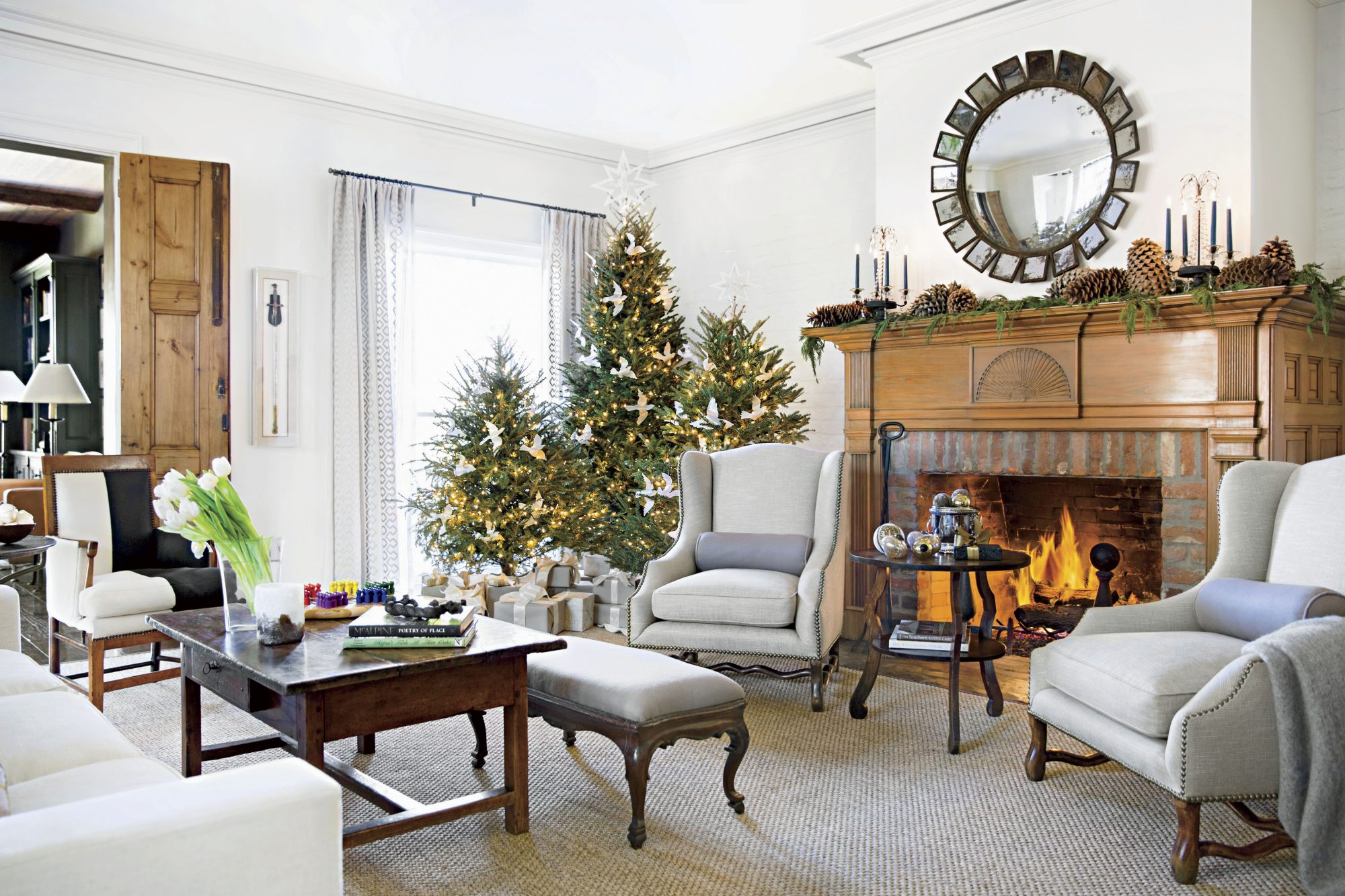 A. Hays Town Baton Rouge Home Living Room at Christmas