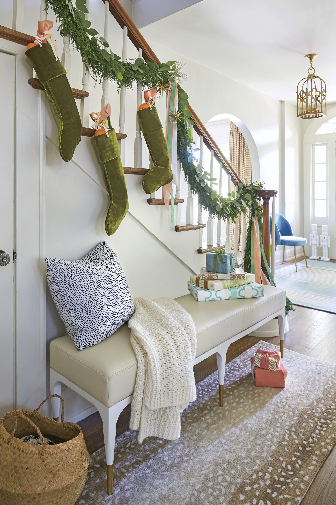 Stocking and Garland on Banister