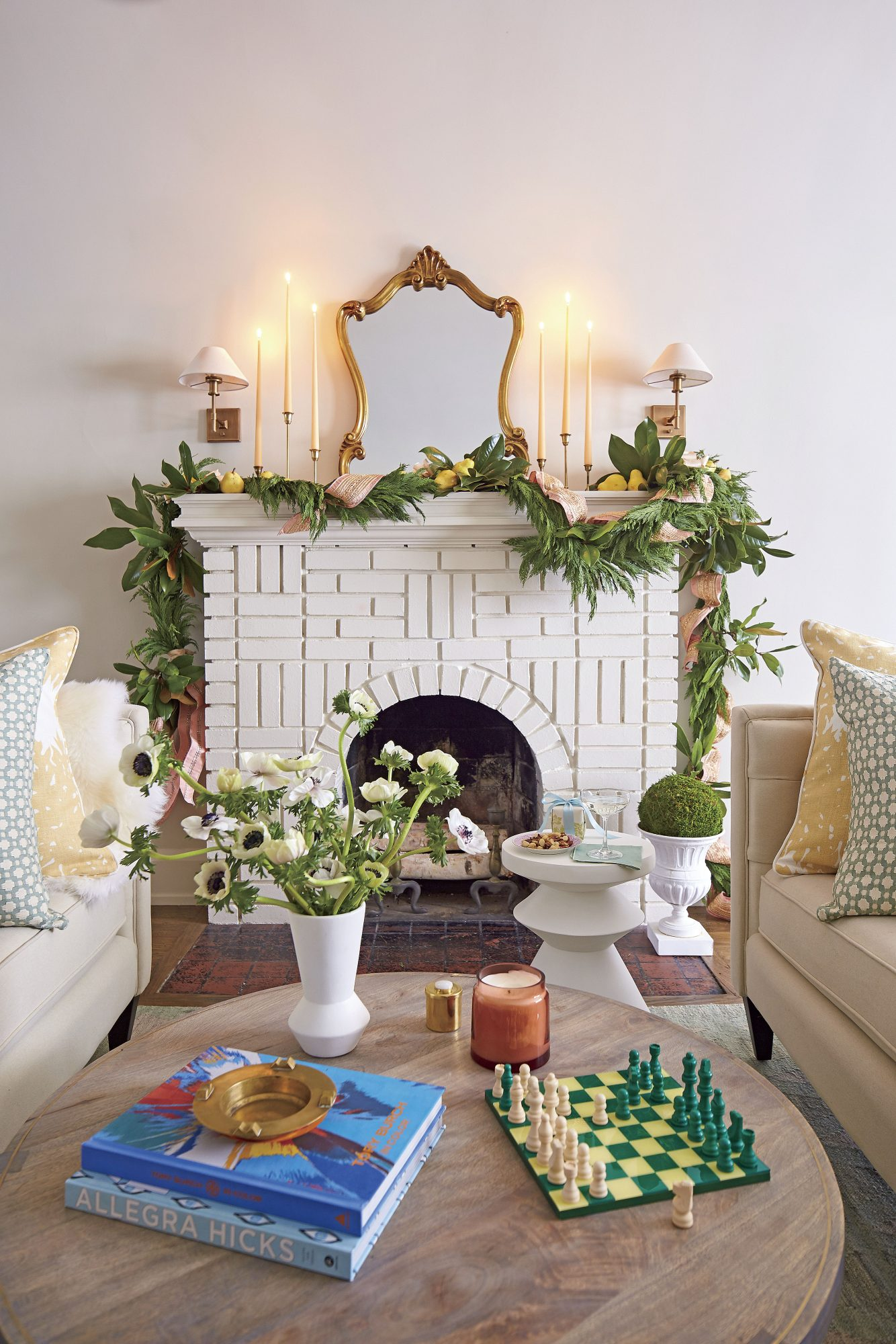 Fireplace Decorated with Garland, Ribbon, and Lemons