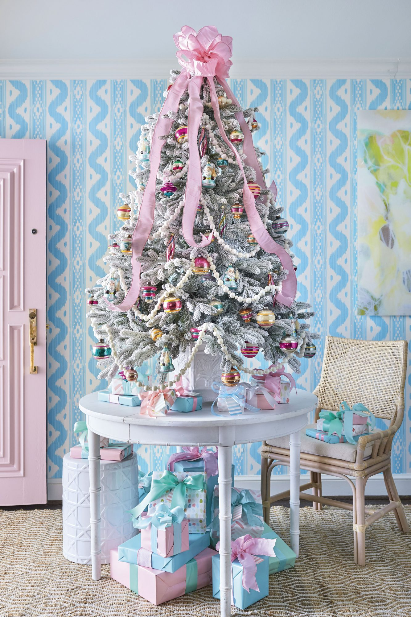 Pink and Teal Table Top Christmas Tree
