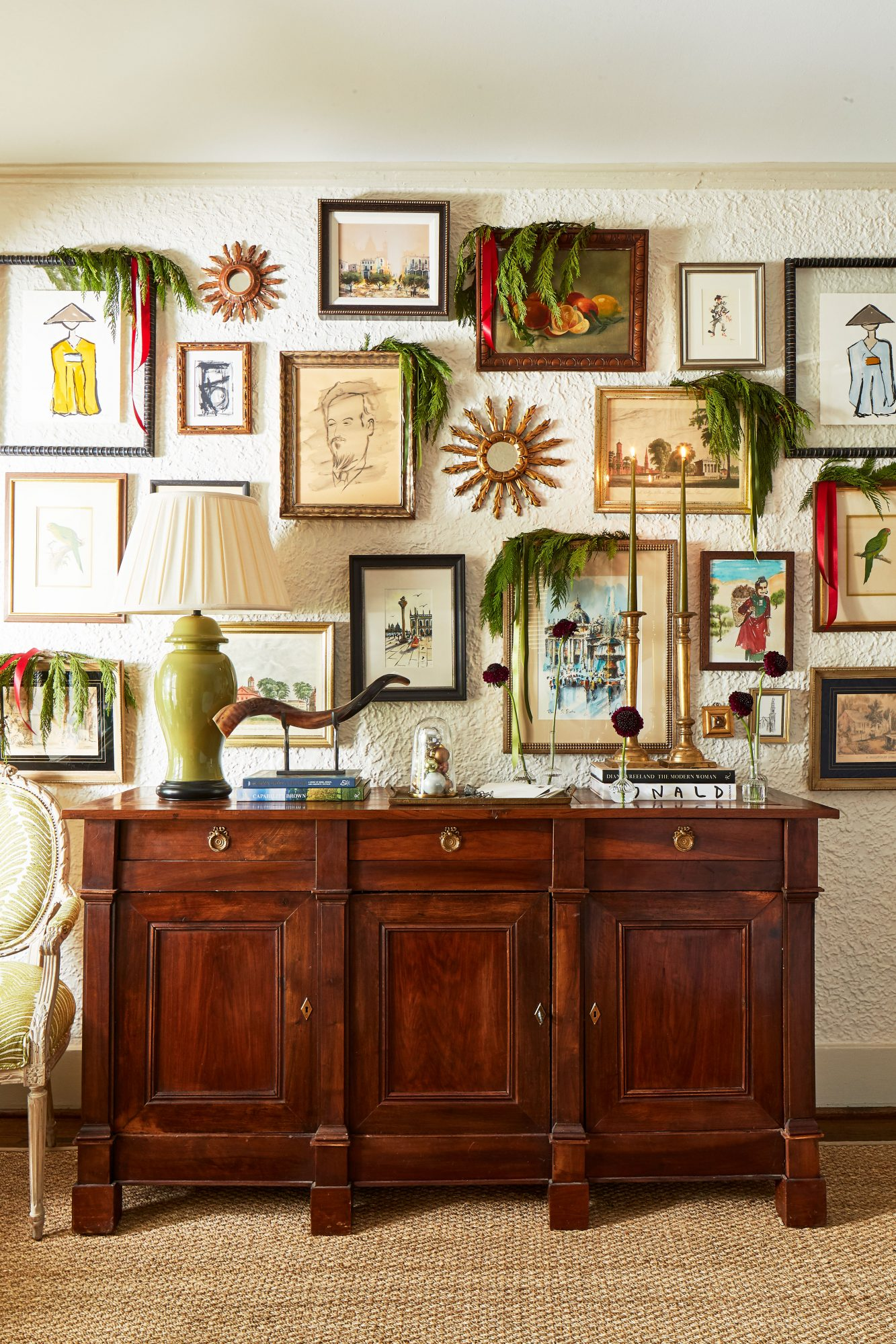Credenza and Gallery Wall with greenery for Christmas