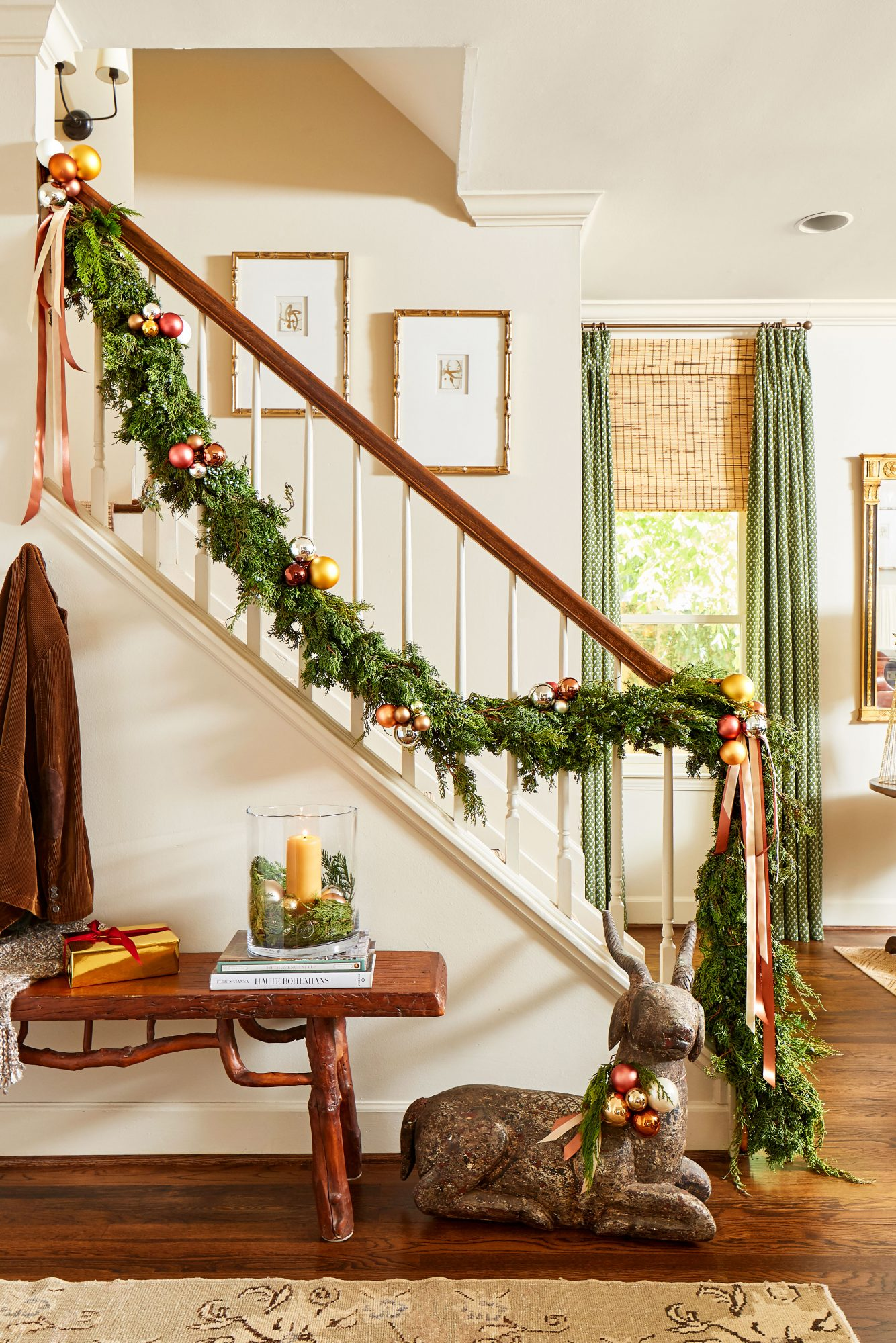 Banister with Juniper Garland