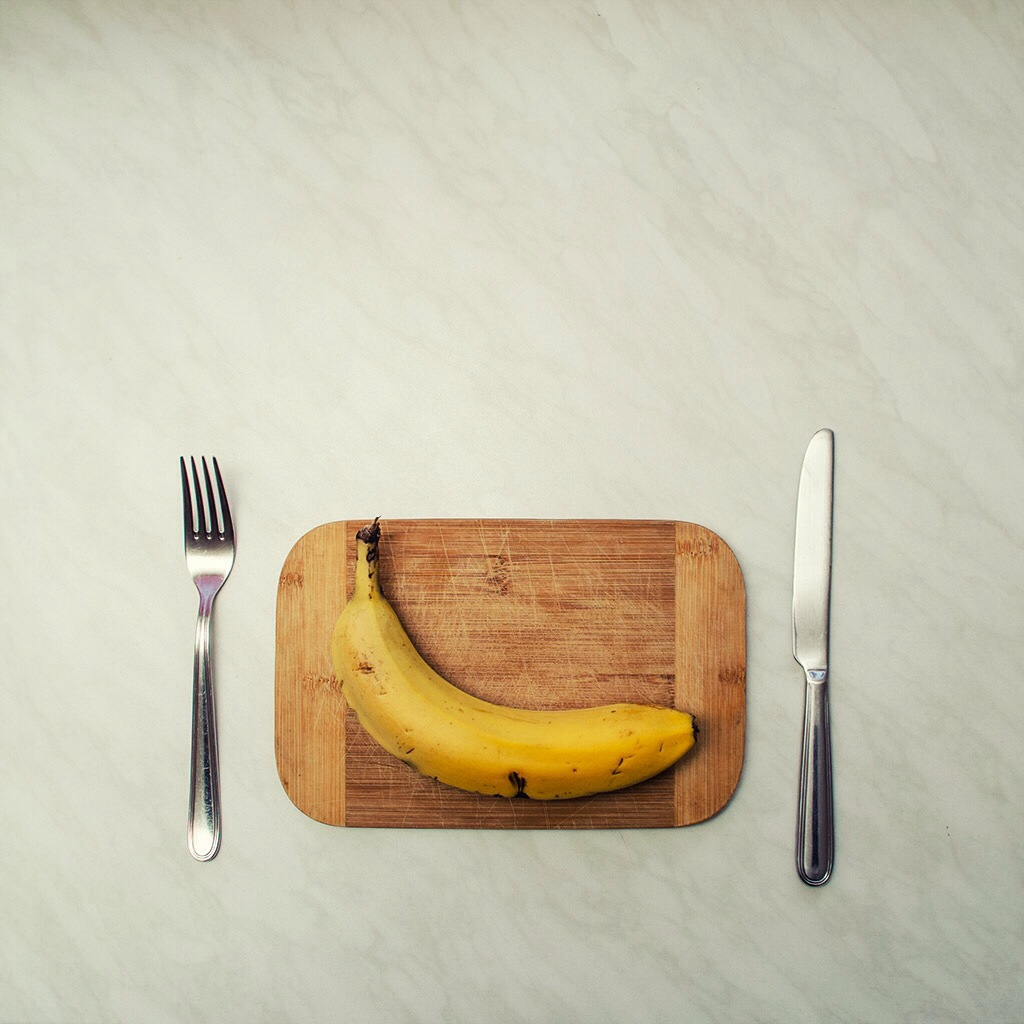 Banana with Fork and Knife