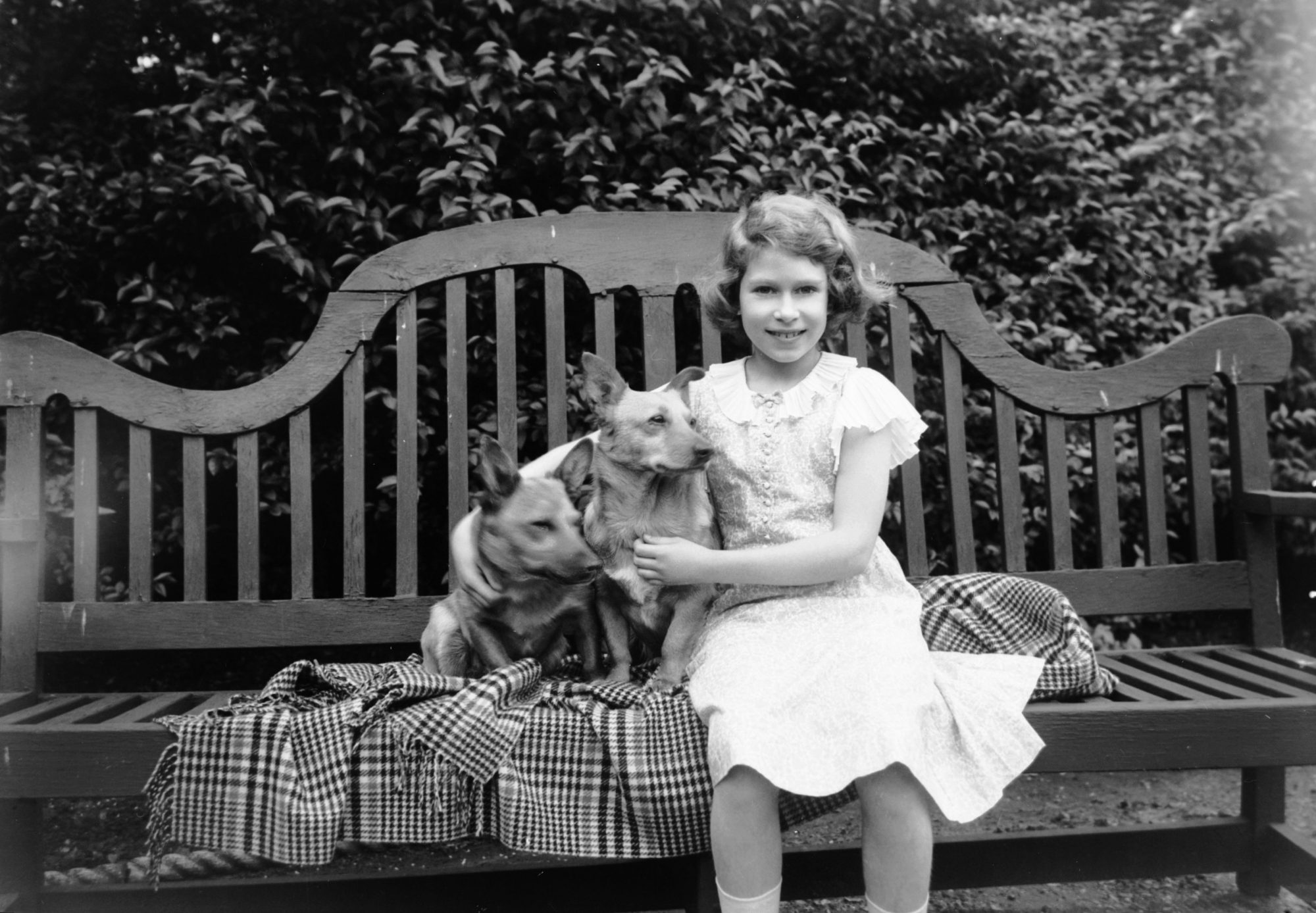 Princess Elizabeth with Corgis Jane and Dookie in 1936