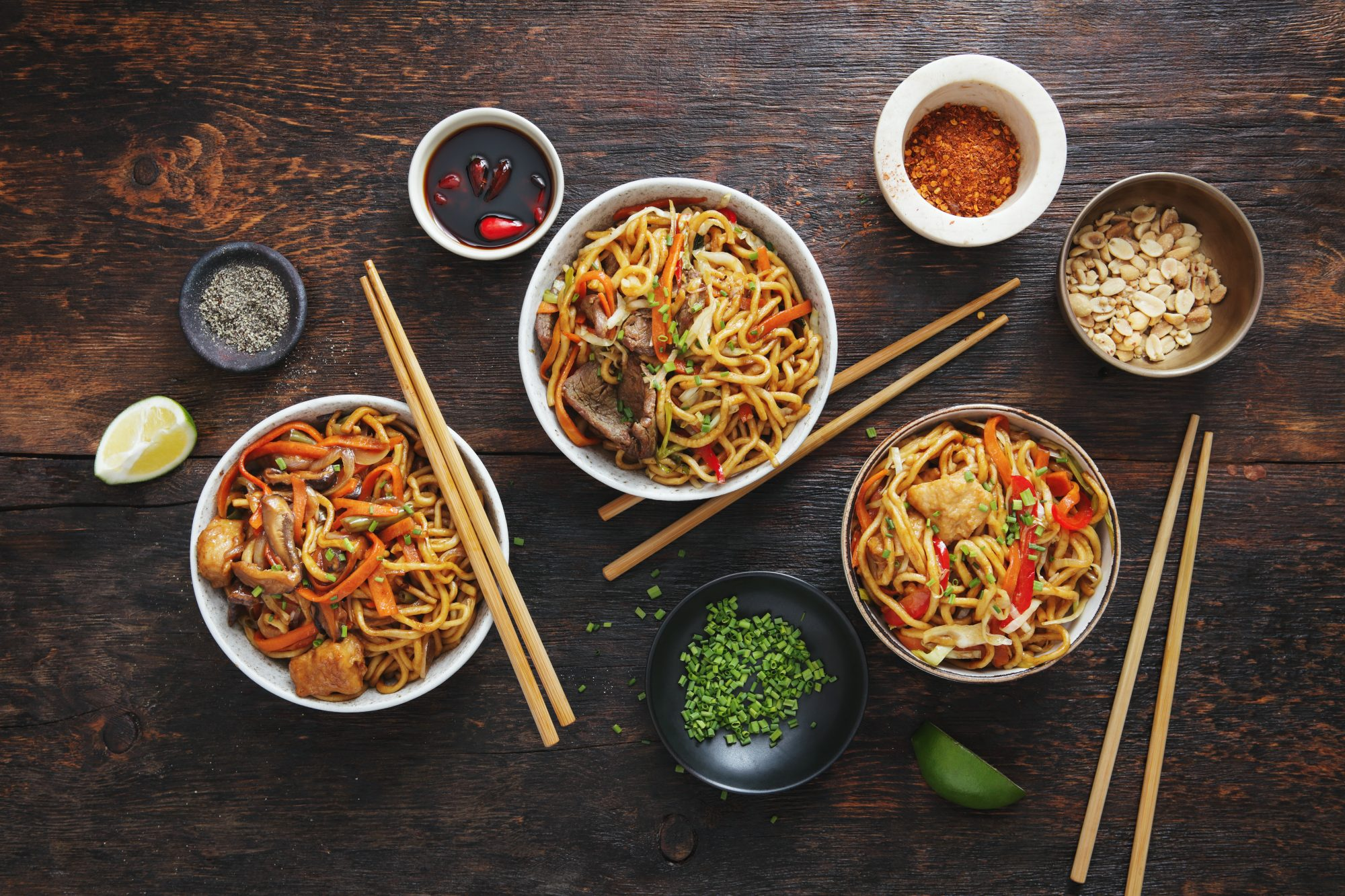 Chicken, Beef and Vegetables Chow Mein