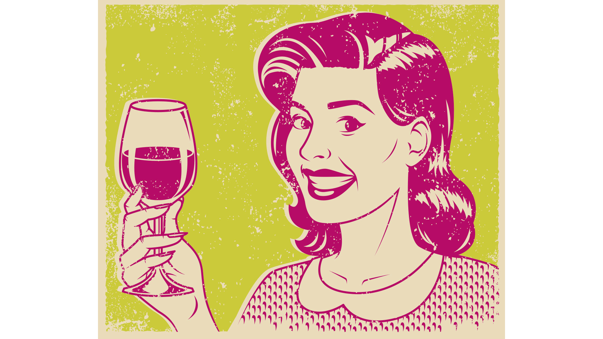 Woman with Wine Vintage