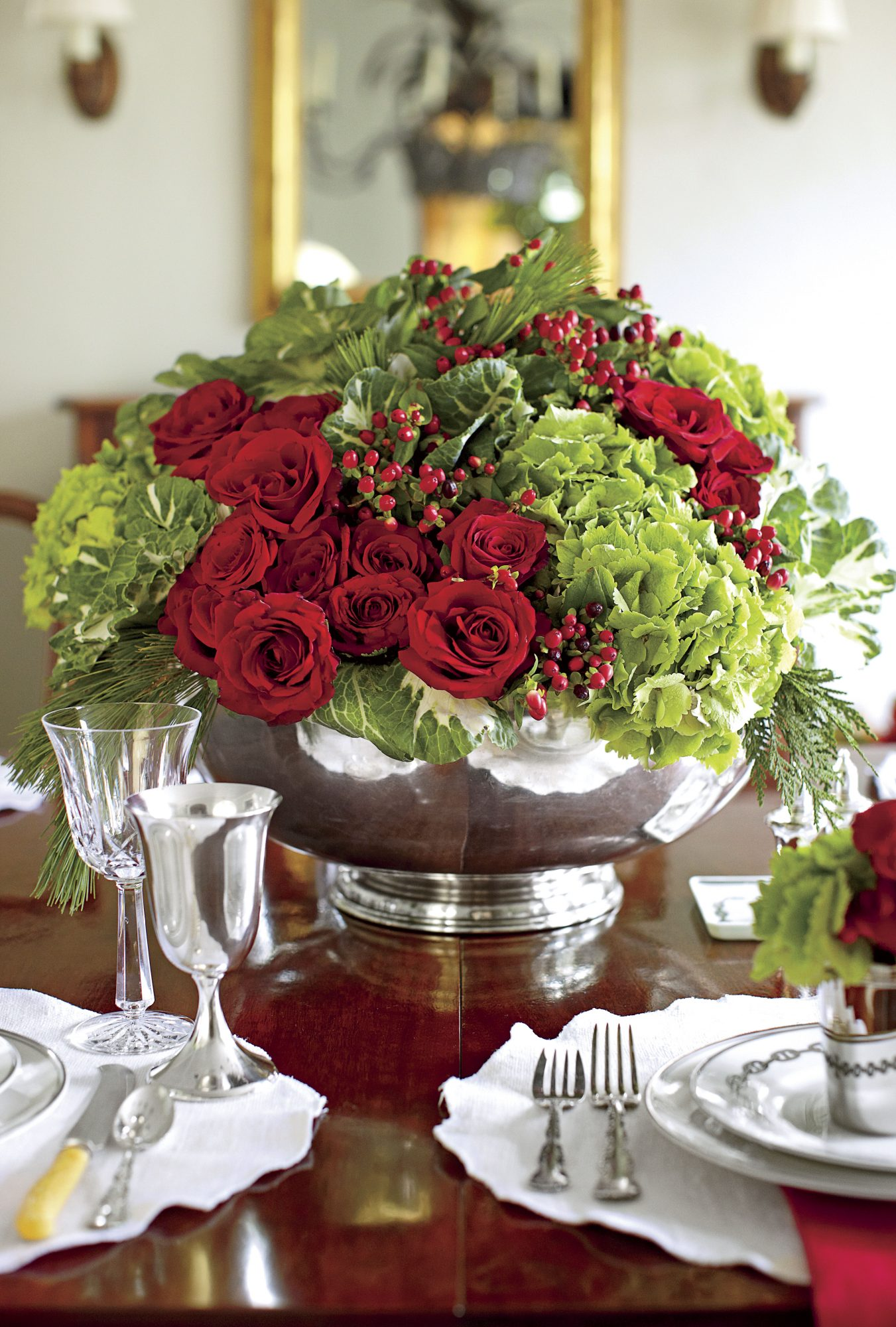 Red and Green Christmas Centerpiece in Punch Bowl