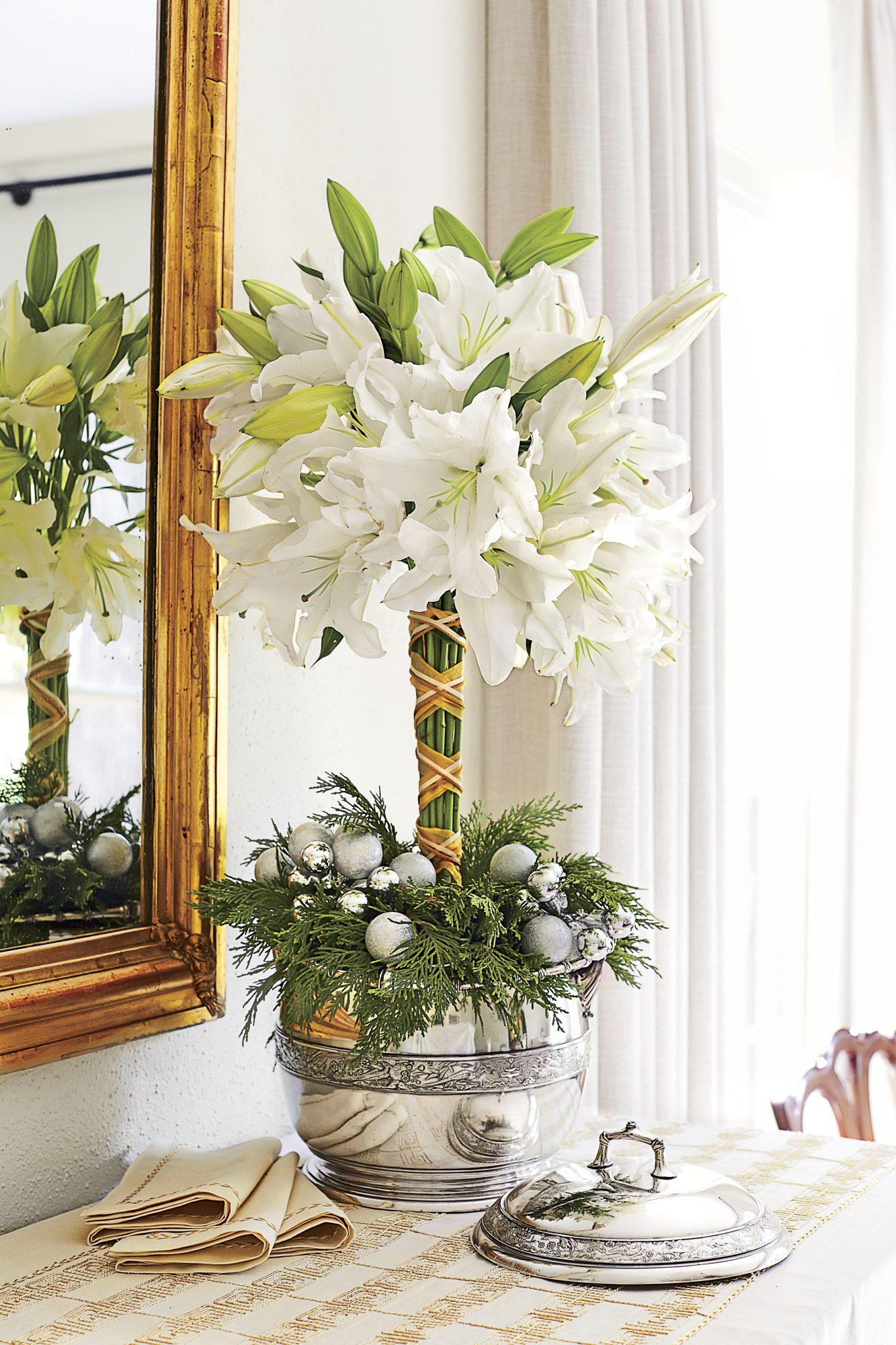 Lily Topiary for Christmas Centerpiece