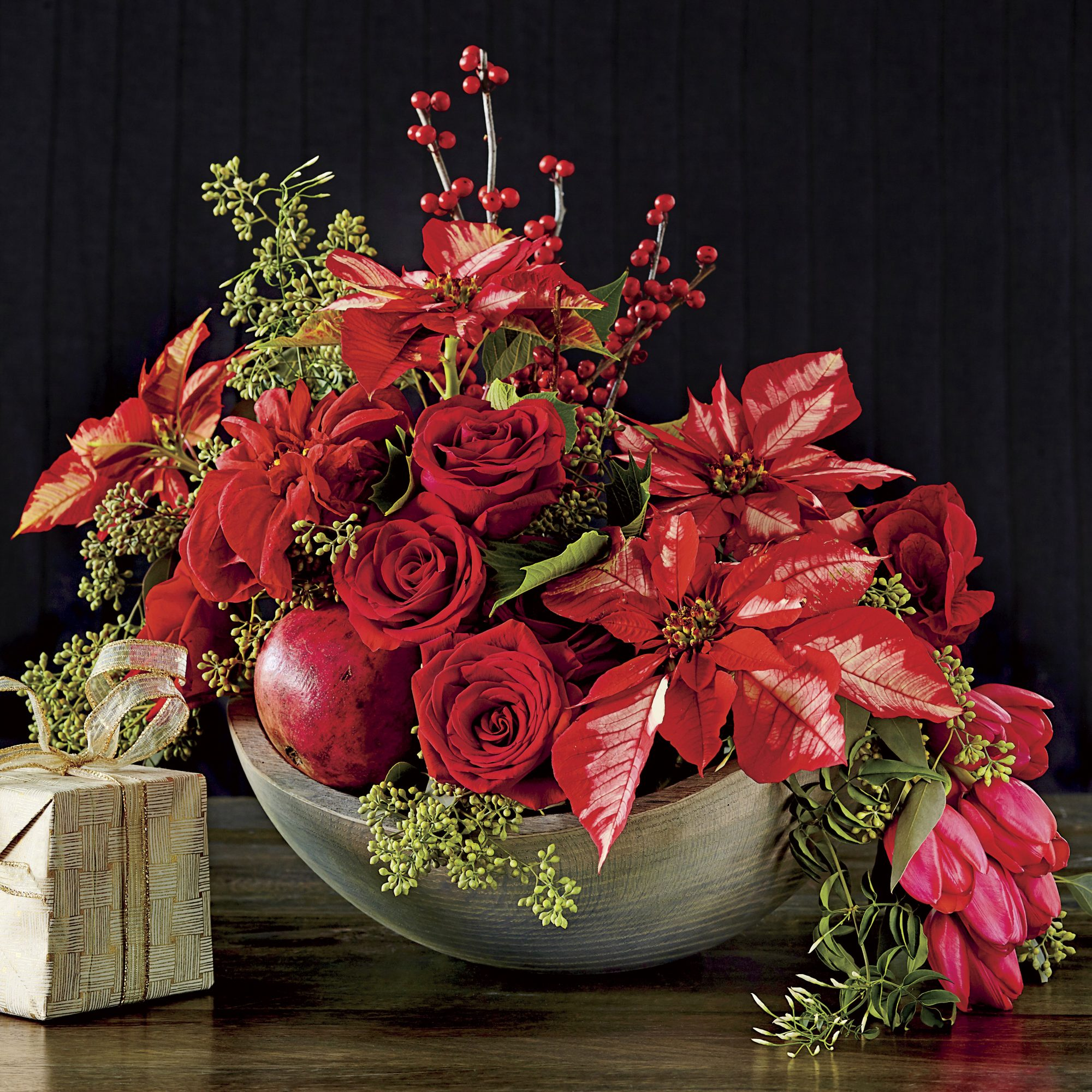Red Rose and Poinsettia Christmas Centerpiece