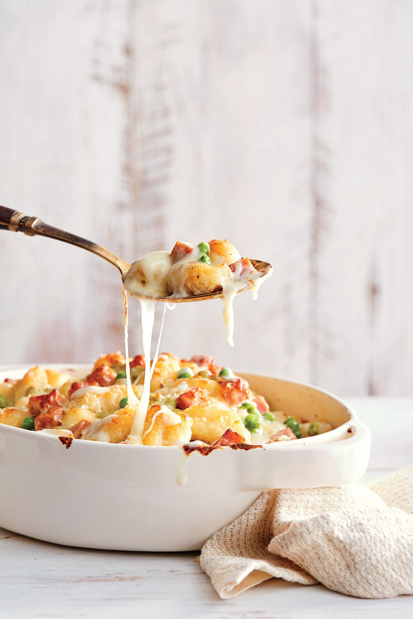 Gnocchi Gratin with Ham and Peas