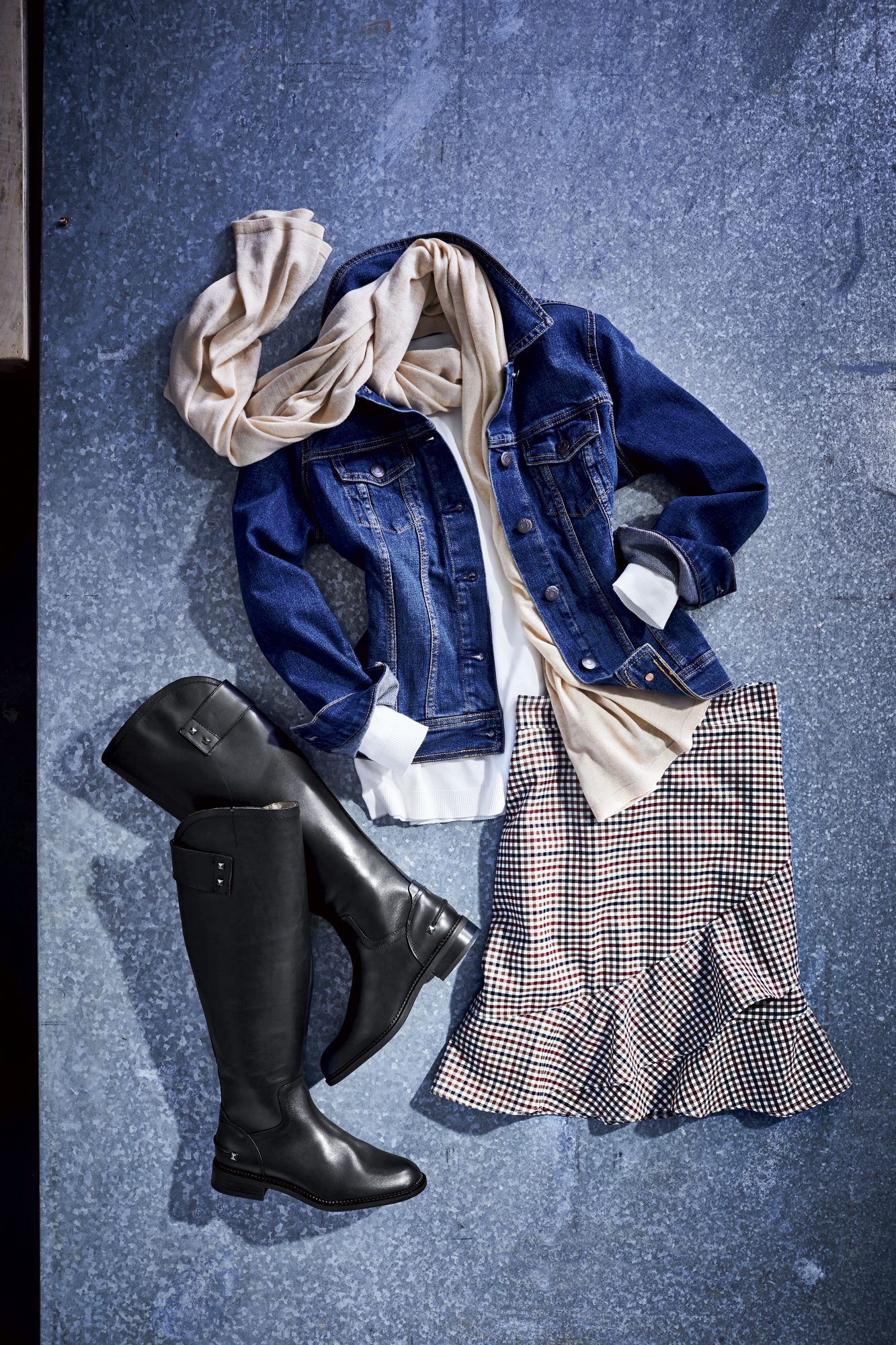 Winter Denim Jacket Outfit with Skirt and Boots