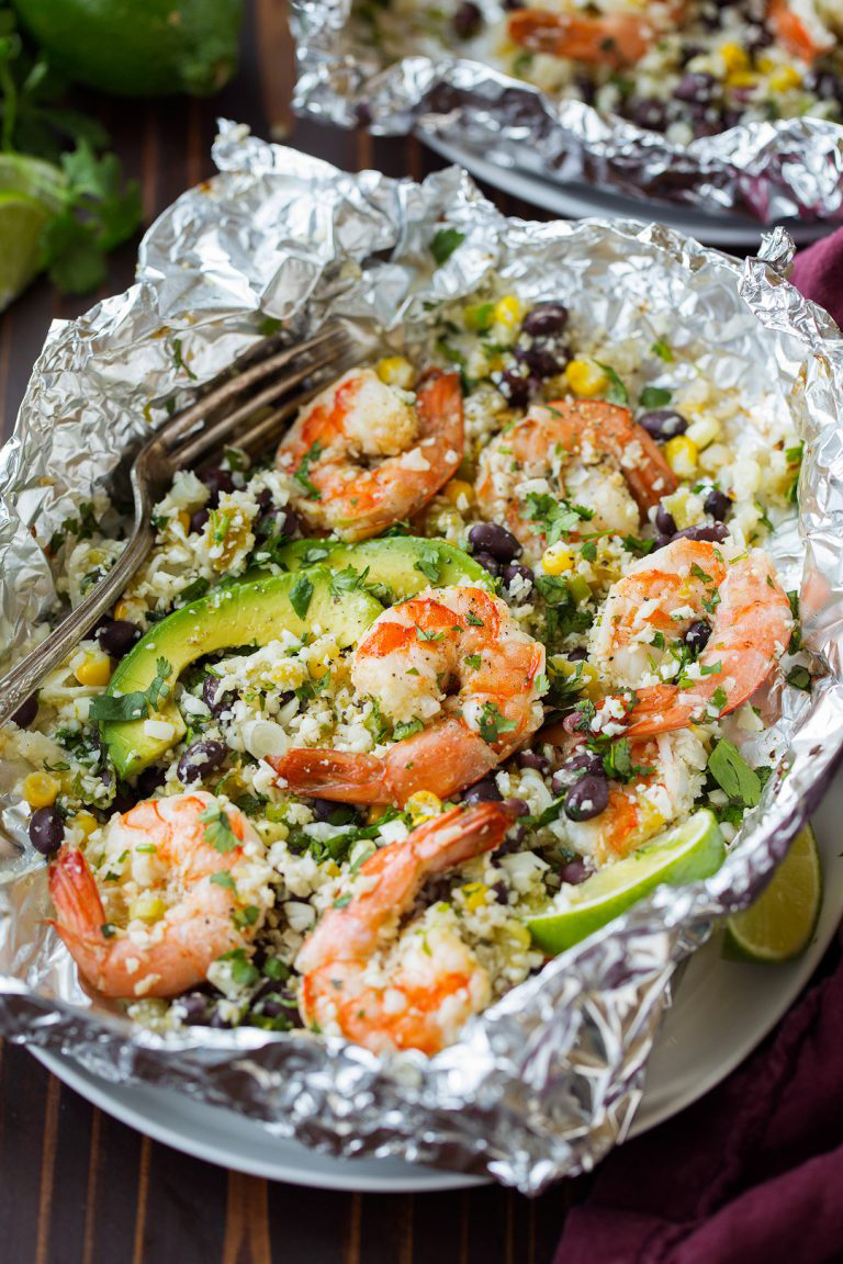 "Cilantro Lime Shrimp and Cauliflower ""Rice"" Foil Packs"
