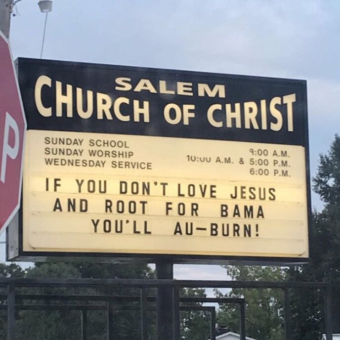 Funny Church Signs You Ll See In The South During Football Season