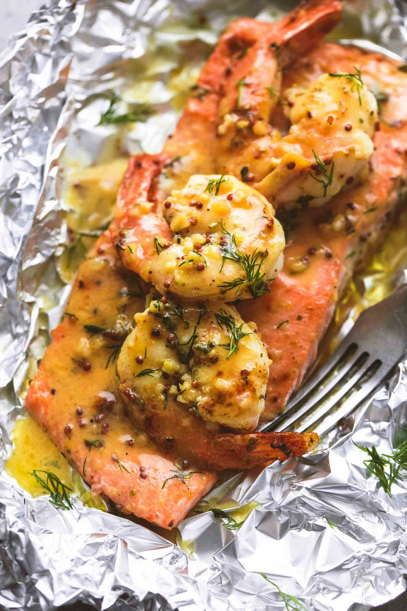 Garlic Dijon Shrimp and Salmon Foil Packs