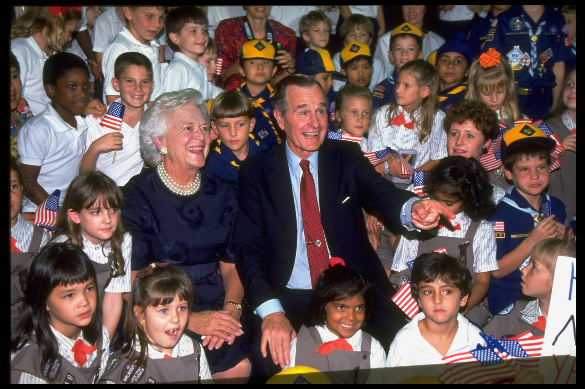 George and Barbara Bush with Scouts