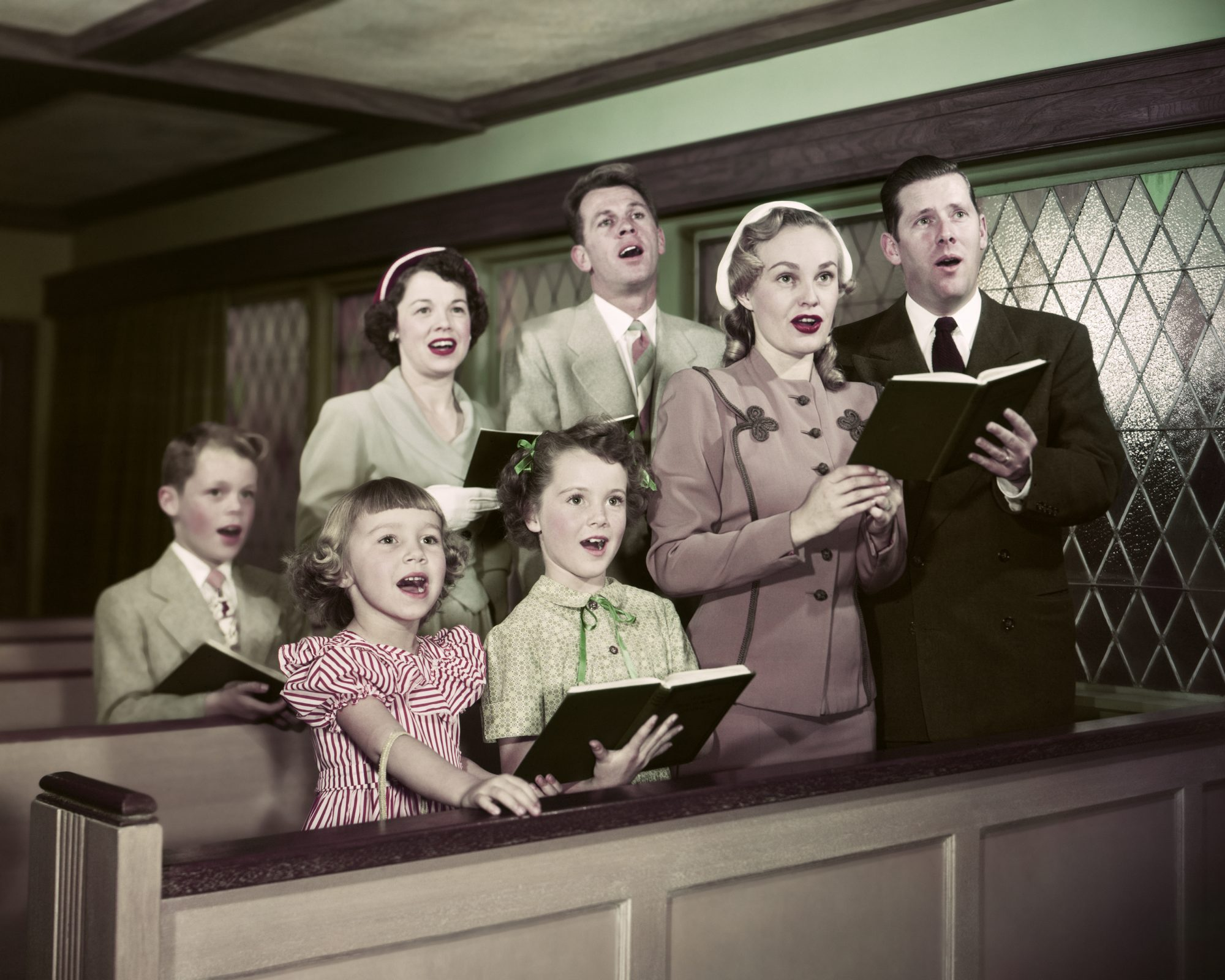 Family Singing in Church